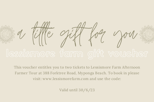 Lessismore Farm Afternoon Farmer Gift Voucher-2 people