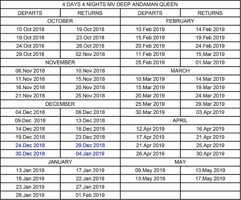 MV Deep Andaman Queen Schedule 2018-2019