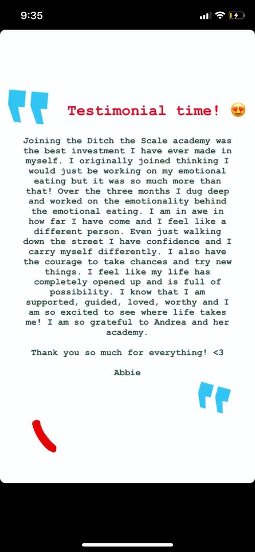 Abbie testimonial