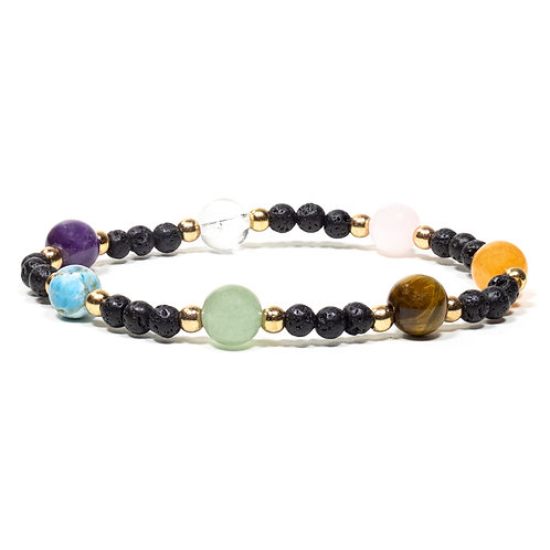 Bracelet pierre de lave avec 7 pierres