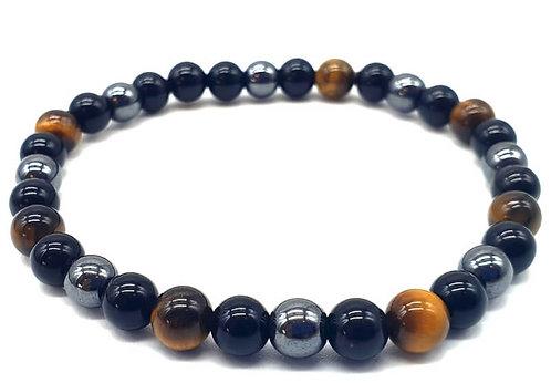 Bracelet boule 06mm Protection Obsidienne Noire, Hématite, Oeil de Tigre