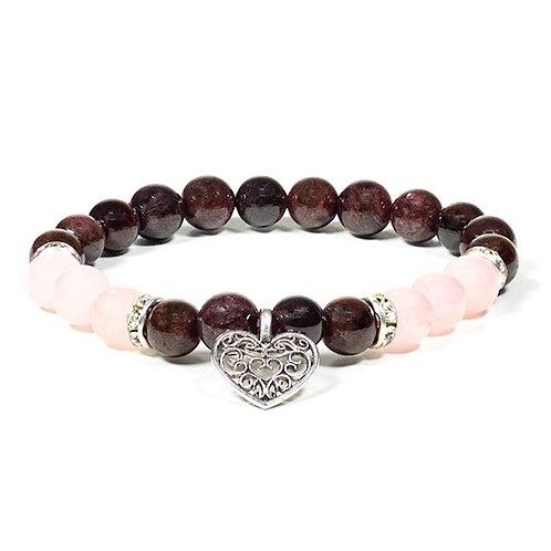 Bracelet 08mm Grenat / Quartz rose avec coeur