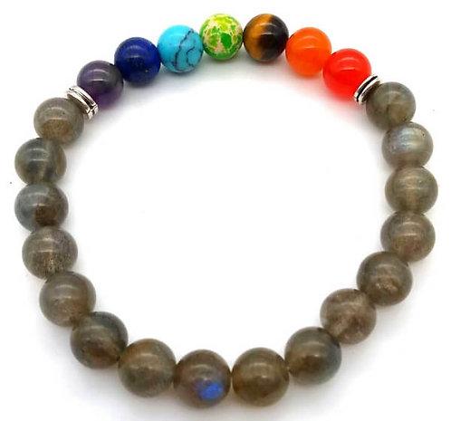 Bracelet ''Blue Light'' Labradorite & 7 Chakras perles 8mm