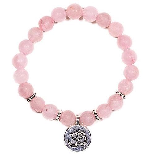 Mala /bracelet 08mm en quartz rose  avec Om