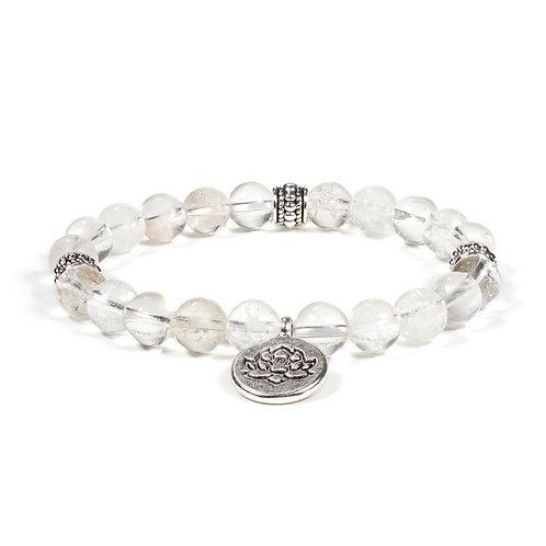 Mala / bracelet  08mm cristal de roche élastique Lotus