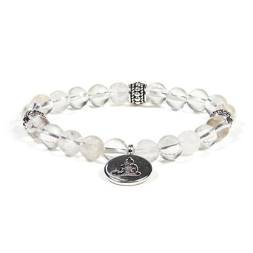 Mala / bracelet  08mm  cristal de roche Bouddha