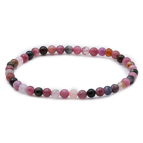 Bracelet boule 04mm TOURMALINE MULTICOLORE