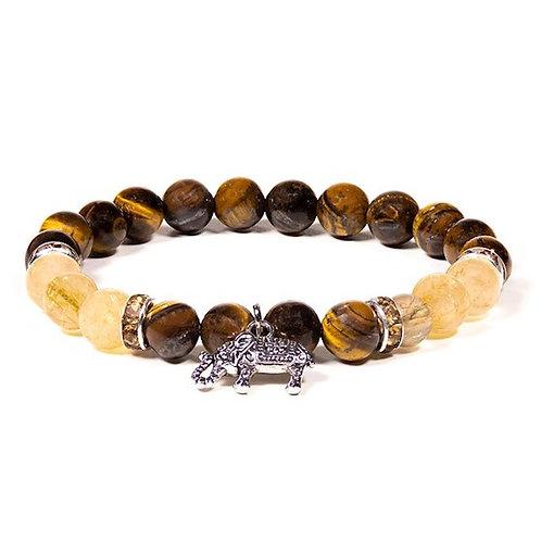 Bracelet  08mm Oeil de tigre / Quartz rutile avec éléphant
