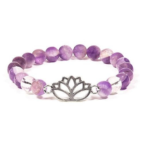 Bracelet  8mm Améthyste chevron/Cristal de roche lotus