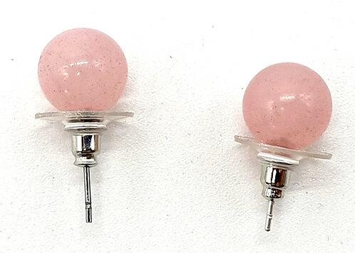 Boucles d'oreilles Perle Quartz Rose 10mm