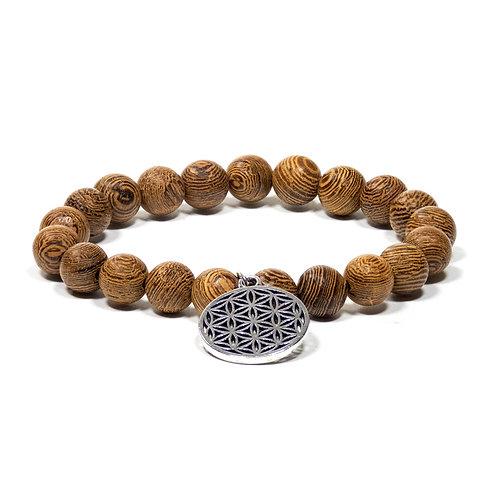 Mala/bracelet bois Wengé élastique + fleur de vie