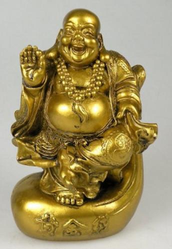 Bouddha doré souriant assis en résine. 14 cm