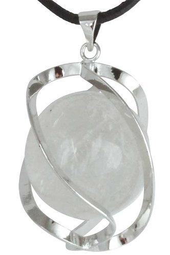 Pendentif DNA-Spirale Cristal de roche boule 20mm
