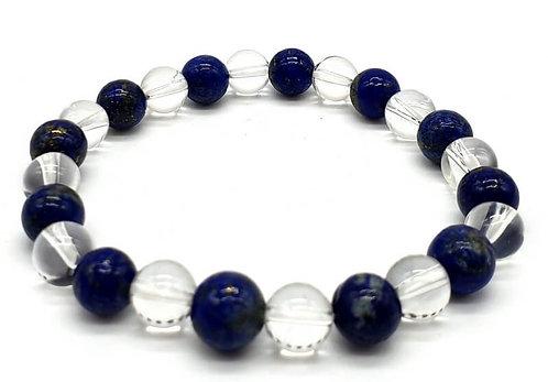 Bracelet Lapis & Cristal 1-Mix perles 8mm