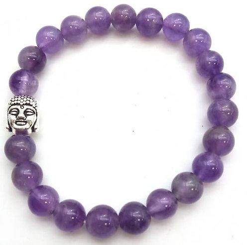 Bracelet 'Light' Améthyste & Bouddha perles 8mm