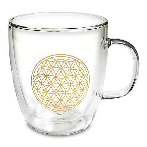 Verre à thé double paroi Fleur de Vie