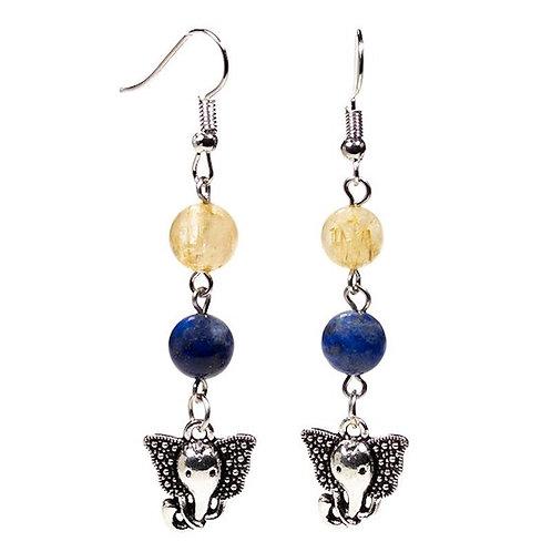 Boucles d'oreille Lapis Lazuli/Quartz rutile & ganesh