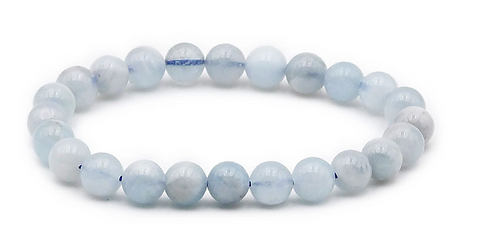 Bracelet boule 08mm AIGUE MARINE