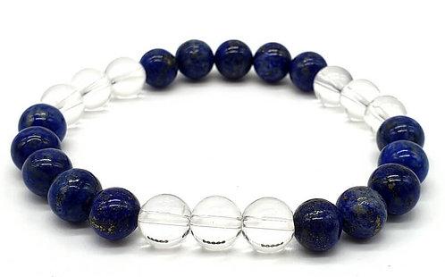 Bracelet Lapis & Cristal 3-Mix perles 8mm