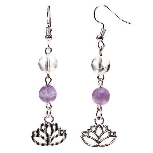 Boucles d'oreille Amethyste chevron/Cristal de roche lotus
