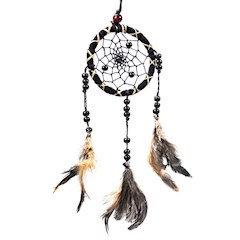 Capteur de rêves noir avec des plumes S