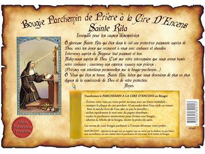 parchemin à la cire à l'encens à Sainte Rita