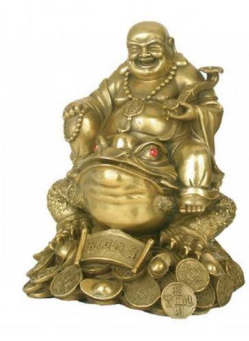 Happy Buddha en laiton avec pièces 23cm