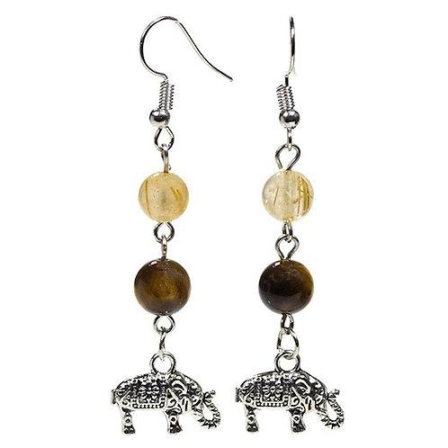 Boucles d'oreilles Oeil de tigre/Quartz rutile + éléphant