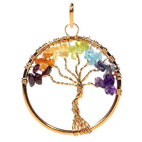 Pendentif arbre des Chakra laiton couleur cuivre