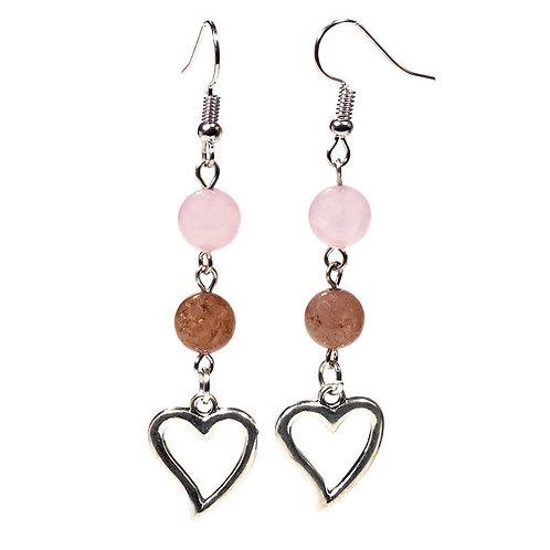 Boucles d'oreilles Quartz rose/Quartz fraise & coeur