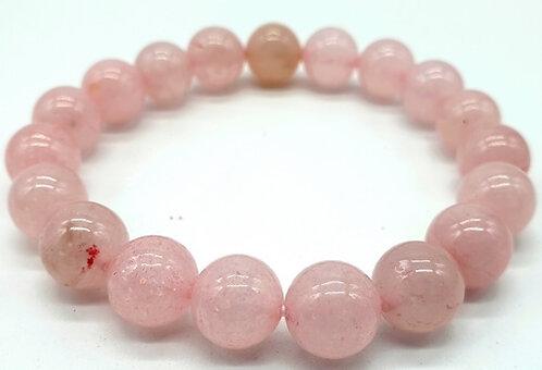 Bracelet boule 10mm Quartz Rose