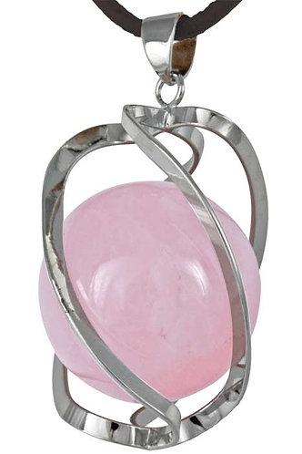 Pendentif DNA-Spirale quartz de rose boule 20mm