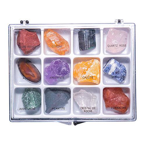 Boite 12 minéraux pierres bruts