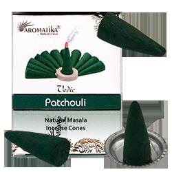 10 cônes d'encens Aromatika+brûleur PATCHOULI