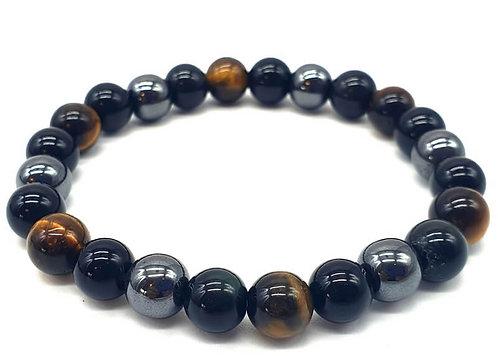 Bracelet boule 08mm Protection Obsidienne Noire, Hématite, Oeil de Tigre
