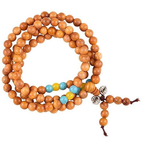 Mala bois élastique perles ornementales et dorje