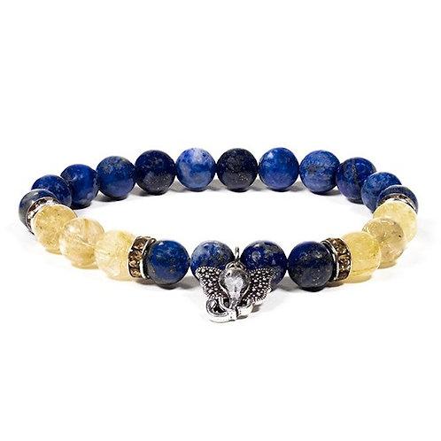 Bracelet Lapis lazuli / Quartz rutile avec Ganesh