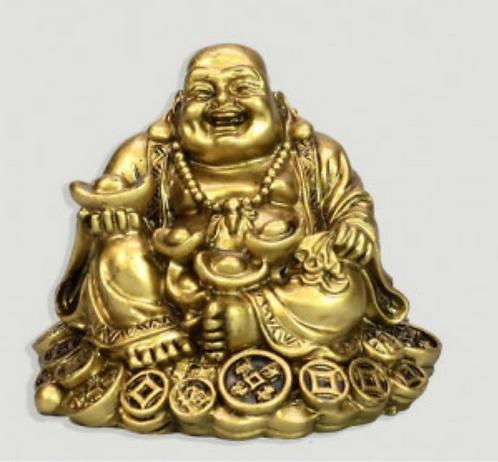 Bouddha en résine dorée. S'asseoir avec des bols. 6cm
