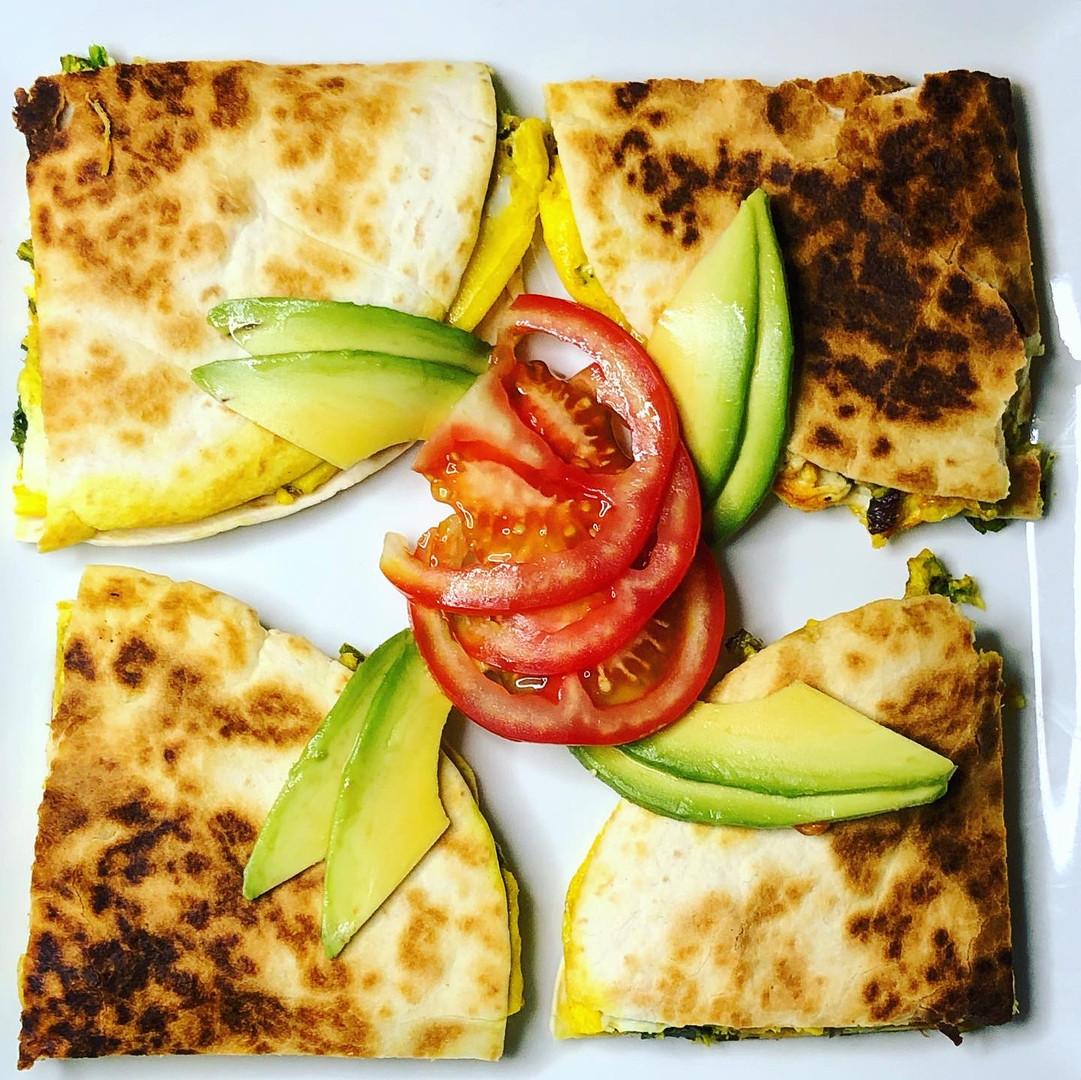 Protein Egg Tortilla- mushrooms, spinach, garlic, and turkey