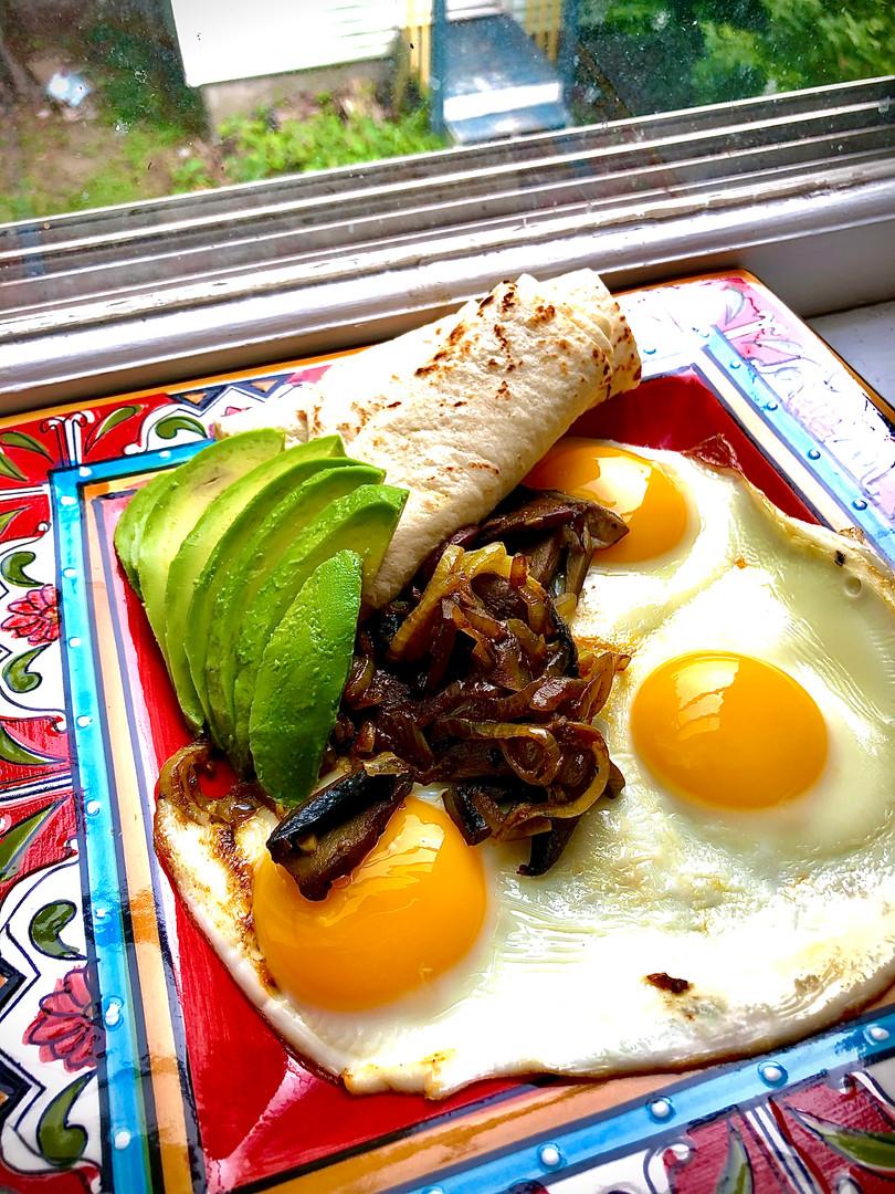 Caramelized Onion and Mushroom Sunny Side Up