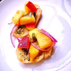 Peach and Pineapple Salsa Toast