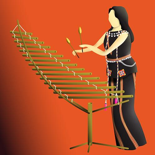 Người con gái Tây Nguyên chơi đàn T'rưng