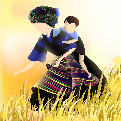 Mẹ cõng con thu hoạch lúa
