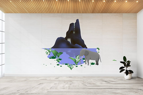 Chú voi đi qua thác nước Tây Nguyên