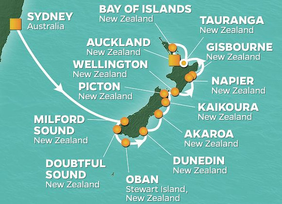 Azamara Journey * Feb 23,-2020 * Sydney to Auckland * 15 Nights