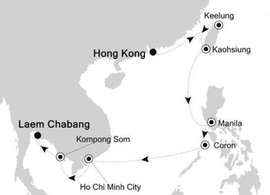 Silver Spirit * Jan 18,-2020 * Hong Kong to Bangkok (Laem Chabang) * 14 Nights