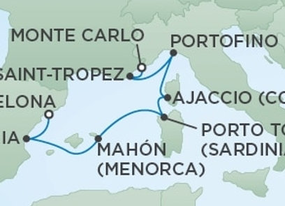 Seven Seas Voyager * Aug 14,-2020 * Monte Carlo to Barcelona * 7 Nights