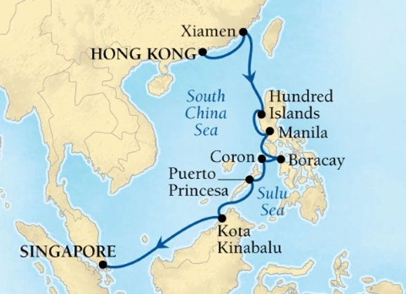 Seabourn Ovation * Feb 1,-2019 * Hong Kong to Singapore * 14 Nights