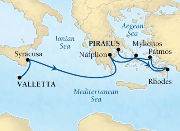 Seabourn Ovation * Nov-06-2019 * Valletta to Athens (Piraeus) * 7 Nights