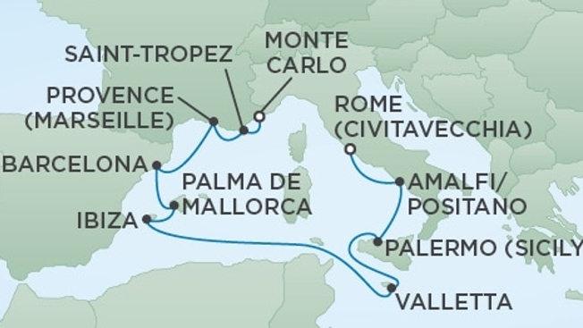 Seven Seas Voyager * Aug 4,-2019 * Rome to Monte Carlo * 10 nights
